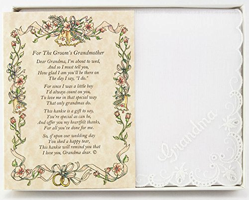 Wedding Handkerchief Poetry Hankie (for Groom's Grandmother) White, Lace Embroidered Bridal Keepsake, Beautiful Poem | Long-Lasting Memento for The Groom's Grandma | Includes Gift Storage Box