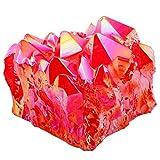 SUNYIK Red Titanium Coated Crystal Cluster,Quartz Geode Druzy Gemstone Specimen(0.2-0.3lb)