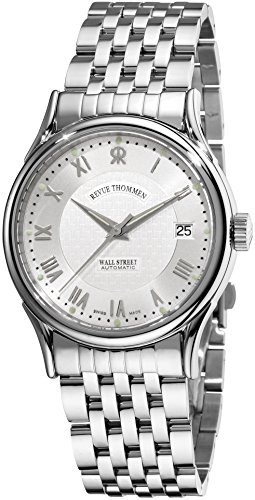 Revue Thommen Wall Street Mens Automatic Watch - 37mm Analog Silver Face with Second Hand Date Sapphire Crystal Watch - Stainless Steel Metal Band Swiss Made Luxury Dress Watches for Men 20002.2132