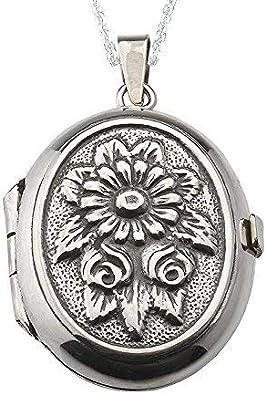 Alylosilver Collar Colgante Guardapelo de Plata De Ley para Mujer Oval con Flores - Incluye una Cadena de Plata de 45 cm y un Estuche para Regalo