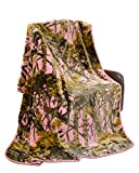 Pink Camouflage Woods Queen Size Pink Camo Medium Weight Faux Fur Blanket 70 inch x 90 inch