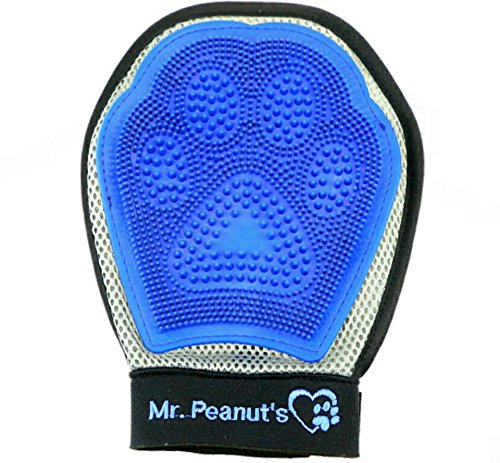Mr. Peanut's Grooming Glove Brush for Either Hand - Deshedding Aid - Pet Hair Remover Mitt - For Long and Short Hair Grooming of Dogs, Horses, Bunnies and Some Agreeable Cats - Pet Massage (Animal Peanut)
