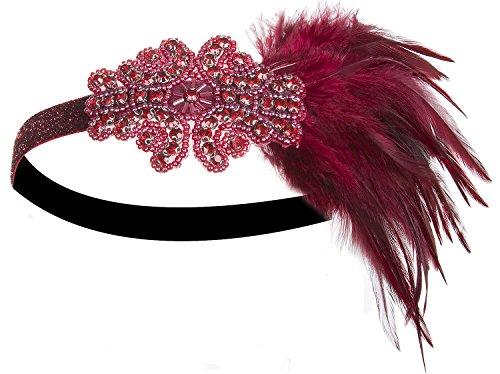 [Vijiv Feather Gatsby Accessories 20s Headpiece 1920s Flapper Headband Red] (Roaring 20s Flapper Costume)