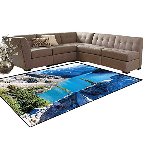 Nature Bath Mat 3D Digital Printing Mat Moraine Lake Banff National Park Canada Mountains Pines Valley of The Ten Peaks Extra Large Area Rug 6'6