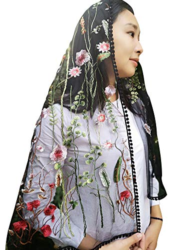 Sevenflowers Wildflowers Floral Lace Wrap Mantilla Floral Vintage Inspired Lace Chapel Veil Y038 (black) (Floral Embroidered Wrap)
