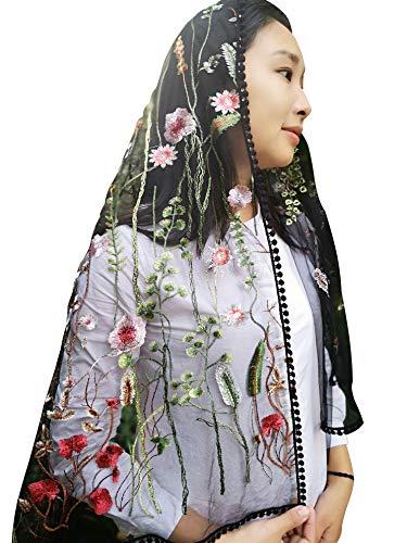 - Sevenflowers Wildflowers Floral Lace Wrap Mantilla Floral Vintage Inspired Lace Chapel Veil Y038 (black)