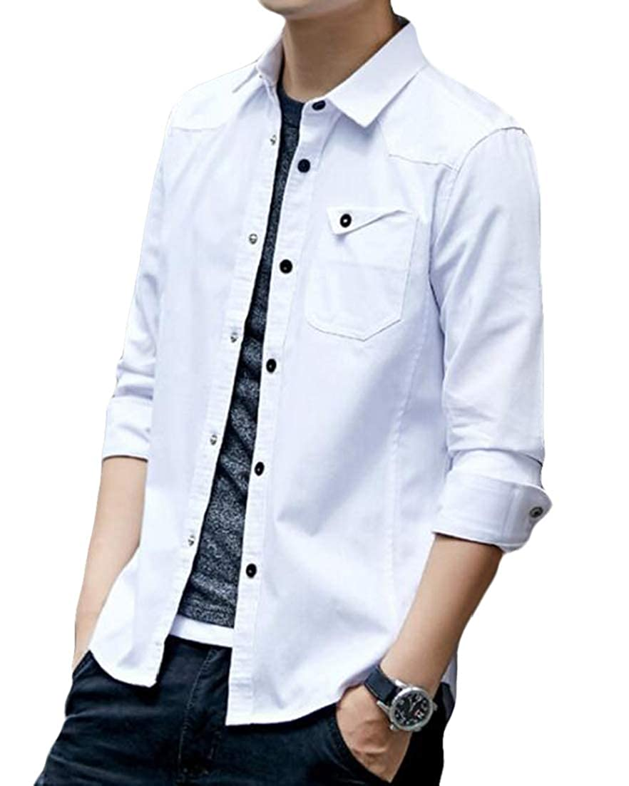 X-Future Men Slim Fit Skinny Solid Cotton Long Sleeve Button Down Shirt