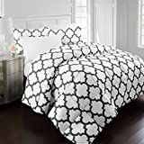 Alternative Comforter - Sleep Restoration 2200 Series LuxuryGoose Down Alternative Quatrefoil Comforter Set - Premium Hypoallergenic All Season Duvet - Full/Queen - White