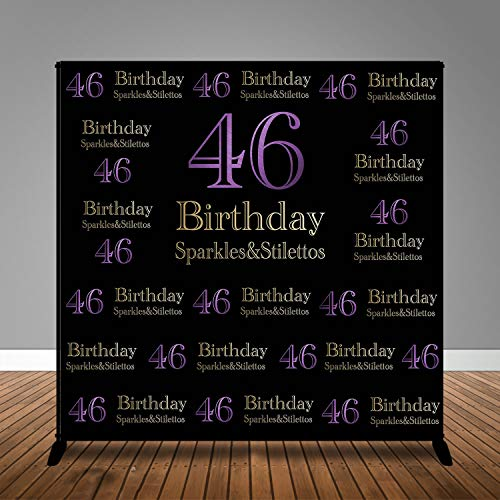 (Sparkles & Stilettos Black Photo Studio Booth Background Happy 46th Birthday Party Banner Backdrops for Photography MME 8x8ft)