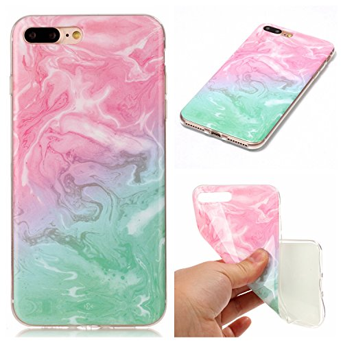 iPhone 7 Plus Case, SUMOON [Marble Series] Ultra Slim Shockproof Bumper TPU Soft Case Rubber Silicone Skin Cover for iPhone 7 Plus 2016 (Mint+ Pink)