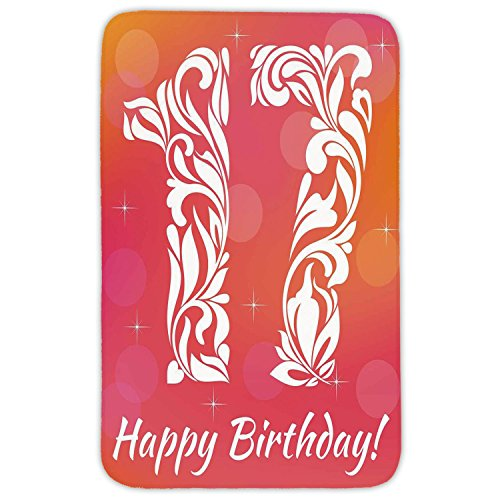 Seventeen Swirls Rug (Rectangular Area Rug Mat Rug,17th Birthday Decorations,Floral Leaves Swirls Seventeen with Abstract Backdrop,Orange and Hot Pink,Home Decor Mat with Non Slip Backing)
