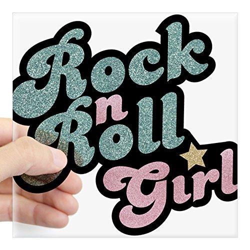 CafePress Rock N Roll Girl Sticker Square Bumper Sticker Car Decal, 3