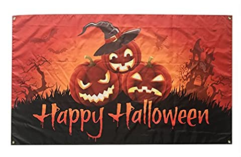 WOWMAR HAPPY Halloween Castle with Pumpkins Garden Flag 3x5 FT100% Polyester Flag with Brass Grommets - Double Sided Pole