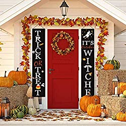 Cozyall Halloween Decorations Welcome Signs for Front Door or Indoor Home Decor Outdoor - Trick or Treat & It's October Witches Halloween