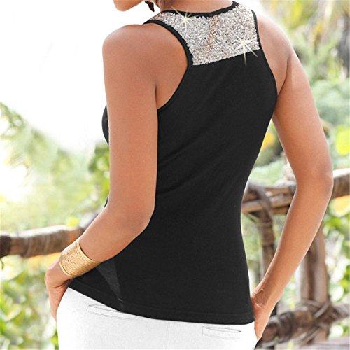 Femme Rond Sport Sexy Top sans BBSMYA Dbardeur Style en Charme Large l'intrieur d't Casual Manches Nouveaux pour Col Bandoulires Coton Noir de Chic Simpel R8EwO