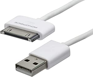 3ft Slimfit USB Sync Cable for All 30-pin iPad iPhone and iPod White for iPhone 4 / 4S, iPhone 3G / 3GS, iPad 1/2 / 3, iPod