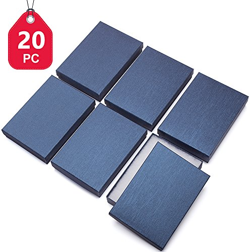 """MESHA 20Pcs Upgrade Jewelry Gift Boxes 5.25x3.75x1"""" Cardboard Necklace Boxes (Blue) (Cotton Boxes Gift Necklace)"""