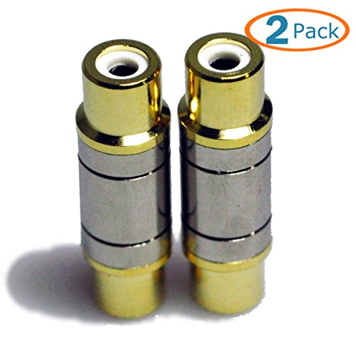 HTTX Premium Female to Female RCA Connector A/V Joiner Video and Audio Coupler Metal Adapter Component Gold Plated - Right Angle Compression Bnc Connector