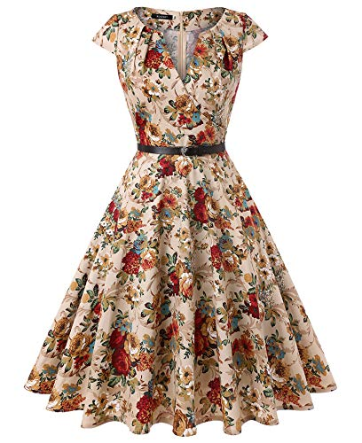 ROOSEY Women's Retro Vintage Cap Sleeve Pockets Cocktail Party Swing Dress,XX-Large,Pattern (Two Pocket Cap)
