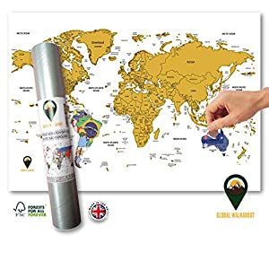 Póster de mapamundi con banderas en el mundo de la marca Global Walkabout Scratch Off con banderas en el fondo, tamaño de viaje, tamaño pequeño, diseño de mapamundi – Países y hechos – regalo de viaje