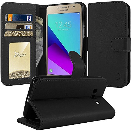 Galaxy Grand Prime Plus Case, Galaxy J2 Prime Case, TAURI [Kickstand] Wallet Leather with Card Pockets Protective Flip Cover For Samsung Galaxy J2 Prime / Grand Prime Plus - Black