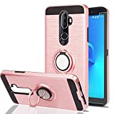 Alcatel 3V Phone Case with HD Phone Screen Protector,Ymhxcy 360 Degree Rotating Ring & Bracket Dual Layer Resistant Back Cover for Alcatel 3V-ZH Rose Gold