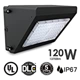 IP67 120W LED Wall Pack Lights 120lm/w Security Lights for Workshop and Outdoor 13700lm Super Brightness & Long Lifespan 5 Year Warranty , 820W HPS/HID Replacement DLC