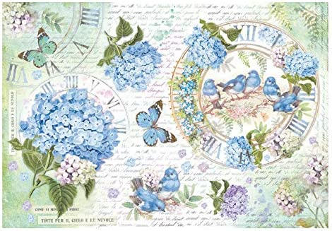 21 X 29.7 Cm Stamperia Papel De Arroz Hortensias Y Mariposas Multicolor