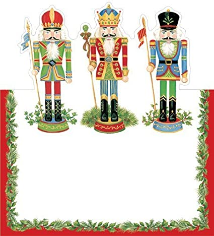 Place Card for Christmas Parties No Placecard Holders Needed 8 Placecards Tented & Die Cut Nutcracker Caspari