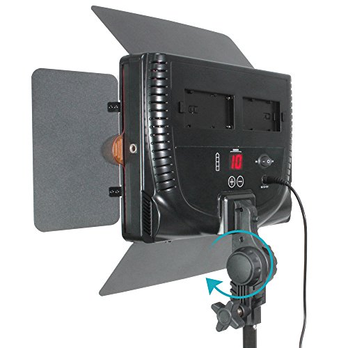 LimosStudio 2-Pack 600 LED Photographic Barn Door Lighting Panel Set with Tripod Stand & Velcro Strap Tie, 3000/5600 Kelvin Color Temperature, Dimmer Control, Photography Studio, AGG2400