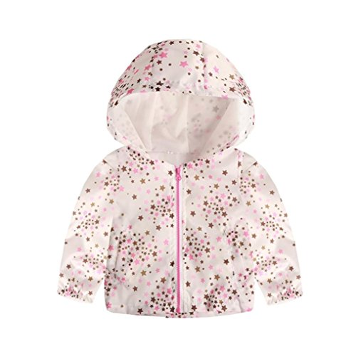 Toddler Baby Boys Girls Clothes Sets for 3T-7T,Lovely Long Sleeve Onesies Thin Cartoon Print Hooded Jacket Tops Outfits Set (3-4T, White) ()