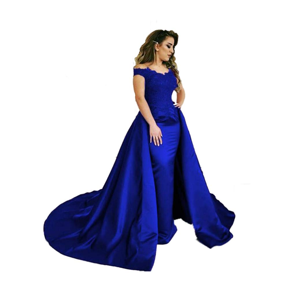 Royal bluee FIGHOUOR Royal bluee Off The Shoulder Lace Evening Dresses with Over Skirt Prom Dress Corset Back