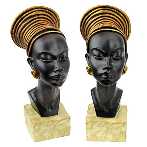 Design Toscano Nubian Kandake Sculptural Bust (Set of 2)