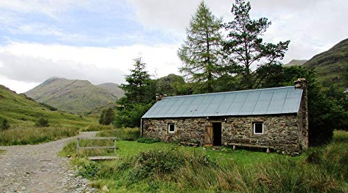 Home Comforts Peel-n-Stick Poster of Scotland Mountains Bothy Corryhully Vivid Imagery Poster 24 x 16 Adhesive Sticker Poster Print