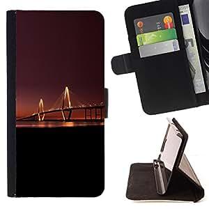 - SUNSET RIVER BRIDGE CITY NIGHT LONG LIGHT - - Prima caja de la PU billetera de cuero con ranuras para tarjetas, efectivo desmontable correa para l Funny HouseFOR Samsung Galaxy S5 V SM-G900