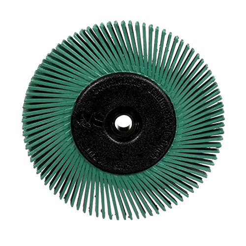 Scotch-Brite Radial Bristle Brush with Adaptor, 6-Inch by .5-Inch by 1-inch, 50-Grade