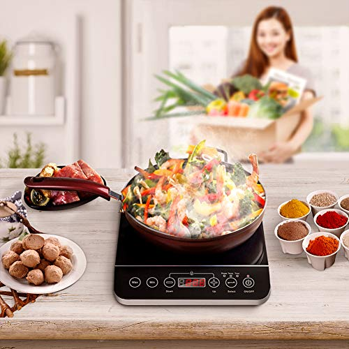 Cusimax 1800W Induction Cooktop 10.2'' Countertop Burner with Smart Sensor Touch Kids Safety Lock Timer Temperature and 9 Power Level Controls (Black, Single)