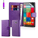 32nd® Book wallet PU leather case cover for Motorola Moto X Play (2015 edition) + screen protector, cleaning cloth and touch stylus - Purple