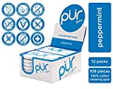 PUR 100% Xylitol Chewing Gum, Peppermint, Sugar-Free + Aspartame Free, Vegan + non GMO, 9 Count (Pack of 12)