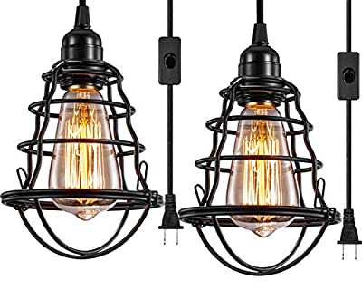 INNOCCY Industrial Plug In Pendant Light Vintage Hanging Cage Pendant Lighting E26 E27 Mini Pendant Light Edison Plug In Light Fixture On/Off Switch 2 Pack