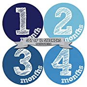 Months in Motion Monthly Baby Stickers Baby Boy Month 1-12 Milestone Sticker (1132)