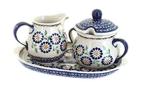 Blue Rose Polish Pottery Peach Blossom Sugar & Creamer Set with Tray