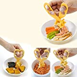 Pinovk Professional Plastic Baby Food Scissors Blister Card Packaging Crush Baby Food Supplement Scissors (Yellow)