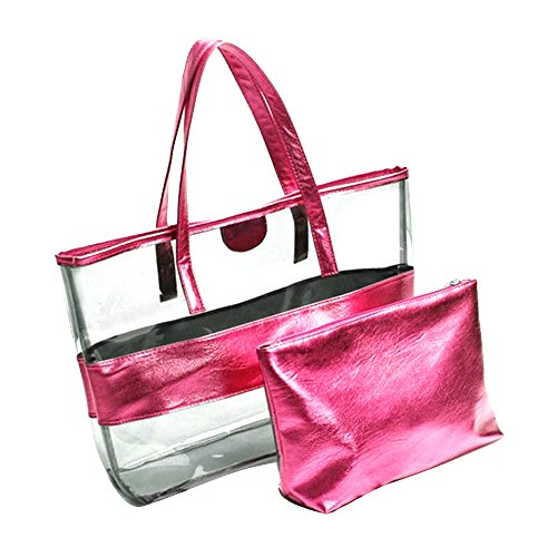 Bags Semi PVC Handbag 2PCS Tote Lady Pink Beach Women Shoulder Transparent Candy Girl Stripe Cosmetic Color clear Travel Bag Pink PYp0qPw
