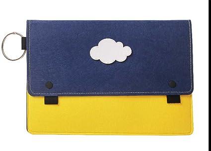 Estuche para computadora portátil de 14 pulgadas Funda para computadora portátil creativa Bolso azul y amarillo con maletín de fieltro Cloud: Amazon.es: Oficina y papelería