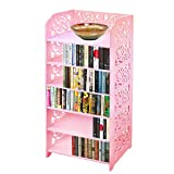 DL furniture WPC Tall 6 Tier Multipurpose Shoe Rack & Book Shelf L16.5 x W9.5 x H38 Environmental Friendly Material | Pink