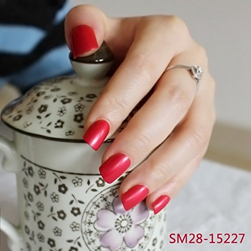 DIY Nail Salon Goods Glitter Sparkly Red 24 Pcs Sweet Carnival Candy Short False Fake Nails Full Tips Finger Nails (Sparkly Sweet)