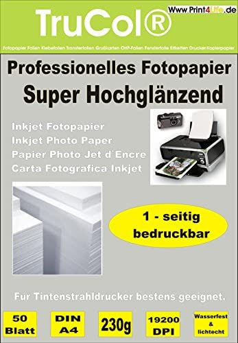 Premium Fotopapier A4 230g/qm High Glossy hochglänzend wasserfest 100 Blatt Inkjet Tintenstrahldrucker