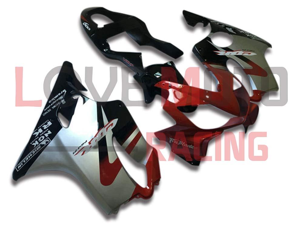 LoveMoto ブルー/イエローフェアリング ホンダ honda CBR600F4i 2001 2002 2003 01 02 03 CBR600 F4i ABS射出成型プラスチックオートバイフェアリングセットのキット レッド シルバー   B07KBSMDWY