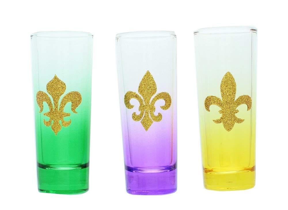 Set of 3 Mardi Gras Fleur De Lis Shot Glasses.